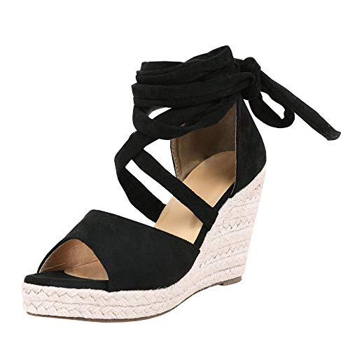 - Fashare Womens Open Toe Tie Lace Up Espadrille Platform Wedges Sandals Ankle Strap Slingback Dress Shoes