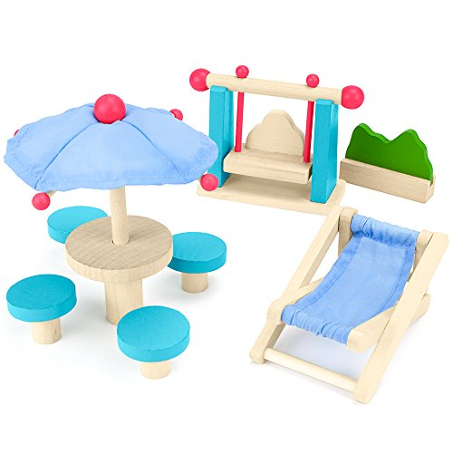 Wooden Wonders Playful Patio Set, Colorful Dollhouse Furniture (8pcs.) by Imagination (Dollhouse Swing)