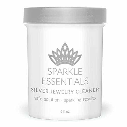 Engagement Silver Earrings (Sparkle Essentials Sterling Silver Jewelry Cleaner - for Engagement or Wedding Ring, Coins, Silverware, Earrings, and More; 6 oz Cleaning Solution with Dipper.)