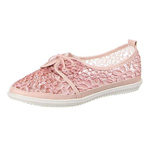 Ital-Design Damen Schuhe, ZH68-5, Halbschuhe Rosa
