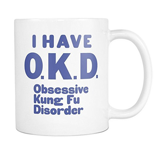 ArtsyMod Premium OKD OBSESSIVE KUNG FU DISORDER Coffee Mug, PERFECT FUN GIFT for the Kung Fu, Chinese Boxing Lover! Attractive Durable White Ceramic Mug (11oz., Blue Print)