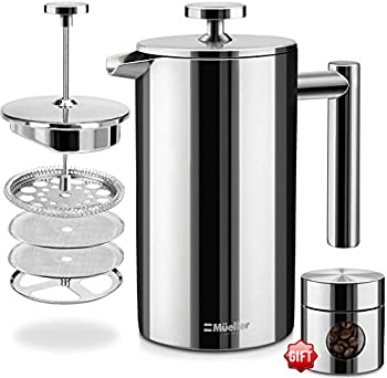 Mueller French Press Double-Wall Stainless Steel Mirror Coffee/Tea Maker
