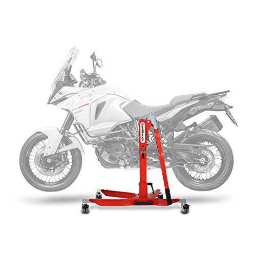 Central Stand - Motorbike Central Stand Paddock Lift ConStands Power KTM 1290 Super Adventure R 2017, Adaptor+Casters incl. red