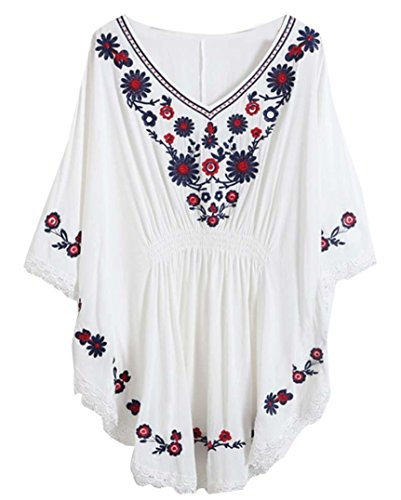 Mexican Embroidered Top (Kafeimali Women's Bat sleeve Embroidered Loose Peasant Butterfly Mexican Blouse (White))