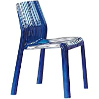 LeisureMod Ruffle Modern Dining Chair, Transparent Blue