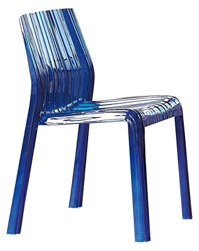 LeisureMod Ruffle Modern Dining Chair, Transparent Blue (Lucite Blue Chairs)