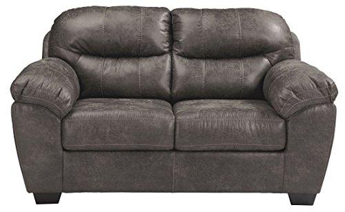 Ashley Havilyn Faux Leather Loveseat in Charcoal
