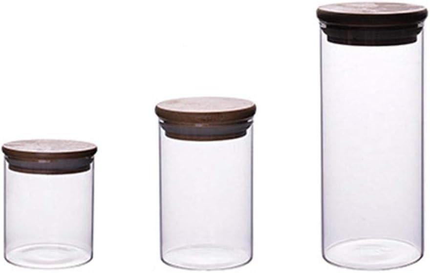 pour Le th/é Le Sucre et Le sel Le caf/é Baihua Bouteille de Stockage en Verre R/ésistant /à la Chaleur de 280 ML /à Haute Teneur en Borosilicate avec Couvercle en Bois Scell/é Les /épices