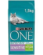 Purina ONE BIFENSIS Sensitive kattendroog voering: rijk aan kalkoen en rijst, hoge verdraagbaarheid bij katten met gevoelige spijsvertering, met Omega 6
