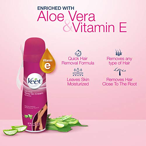 Hair Removal Cream ? VEET Legs & Body 3 in 1 Spray On Hair Removal Cream, Sensitive Formula with Aloe Vera and Vitamin E, 5.1 oz Spray Can (Pack of 5)