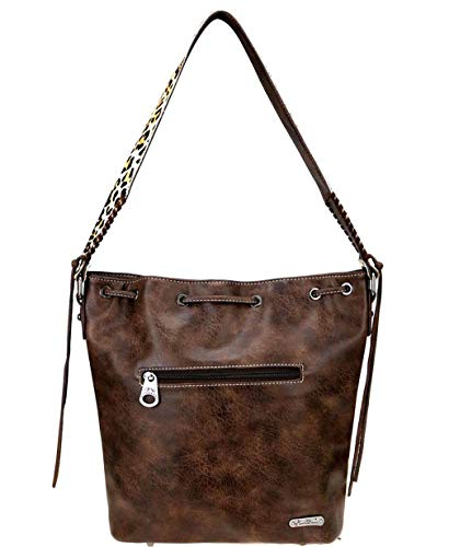Leopard West Coffee Drawstring Accent Pocket Wallet Montana Front Hobo 6qdw5TT1c