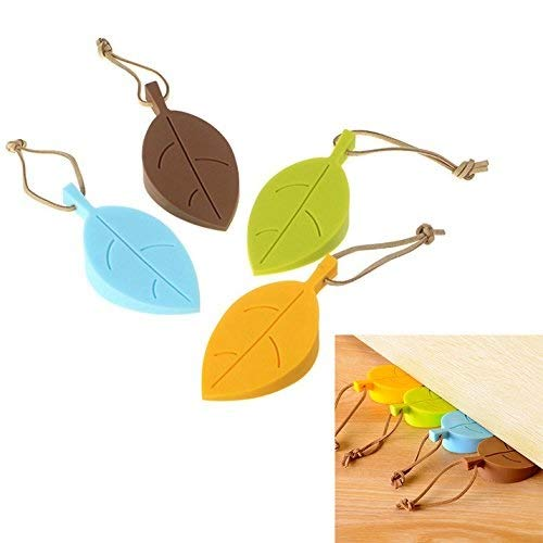 - Oopsu Leaf Style Silicone Door Stopper, Wedge Finger Protector, Cute Cartoon Flexible Silicone Window/Door Stops Set with Lanyard (4 Pack, Green, Yellow, Blue, Coffee)