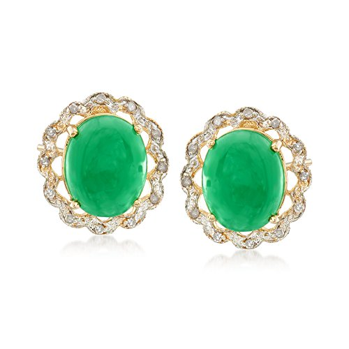 Ross-Simons Oval Green Jade and Diamond-Accented Earrings in 14kt Yellow Gold (Oval Green 14kt Earrings Jade)