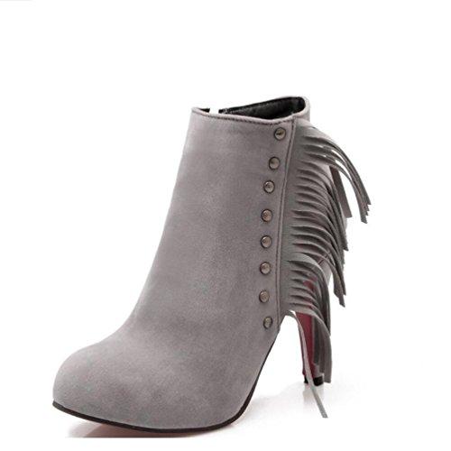 Ei&iLI Bottes femmes talons hauts cheville bottines simili cuir extérieur / bureau & carrière / occasionnel , gray , 42