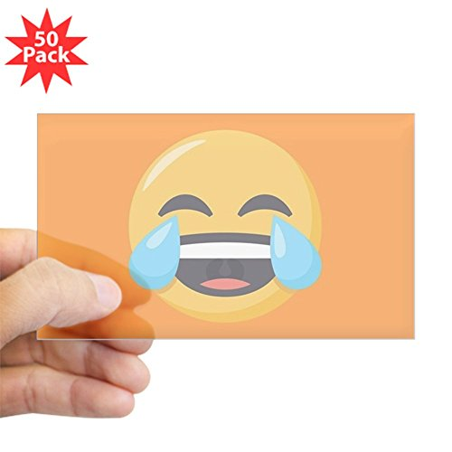 CafePress - Crying Laughing Emoji - Sticker (Rectangle 50 pk) by CafePress