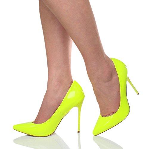 Festa Lavoro Moda Taglia Scarpe De Elegante A Donna Alto Neon Giallo Punta Décolleté Tacco qtnwP0xaxB