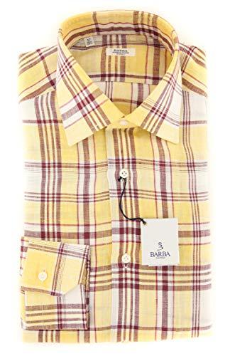 Barba Napoli Yellow Plaid Button Down Spread Collar Linen Slim Fit Dress Shirt, Size xx-Small 14.5 Barba Napoli Linen Shirt