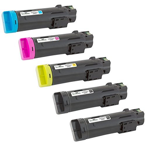 Speedy Inks - 5PK Compatible BCMY Toner Cartridge for Dell H625/H825 Laser Printers 2x 593BBOW 593BBOX 593BBOY 593BBOZ for use in Dell H625cdw,Dell H825cdw,Dell S2825cdn