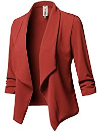 Women Solid Stretch 3/4 Gathered Sleeve Open Blazer...