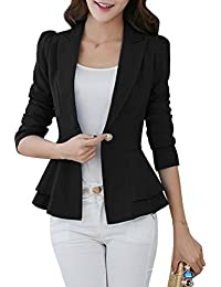YMING Women's Casual Work Solid Color Knit Blazer