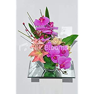 Silk Blooms Ltd Artificial Pink Fresh Touch Orchid and Oriental Lily Arrangement w/Preserved Pussywillow 13