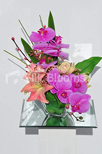 Silk Blooms Ltd Artificial Pink Fresh Touch Orchid And Oriental Lily