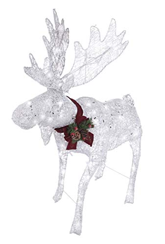 NOMA Pre-Lit LED Light Up Moose | Christmas Holiday Lawn Decoration | Indoor/Outdoor | 4' Feet (Reindeer Decorations Outdoor)