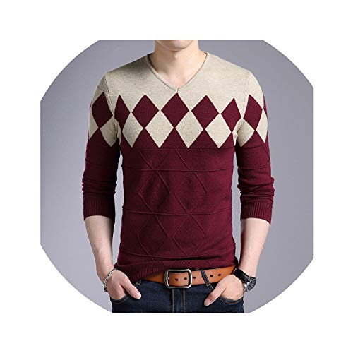floral hoop Cashmere Wool Sweater Men 2019 Autumn Winter Slim Fit Pullovers Men V-Neck Pull Christmas Sweaters,Wine,XL
