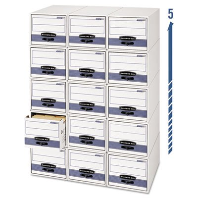 Stor/Drawer Steel Plus Storage Box Letter White/Blue 6/Carton by Bankers Box (Storage Drawer Box Bankers)