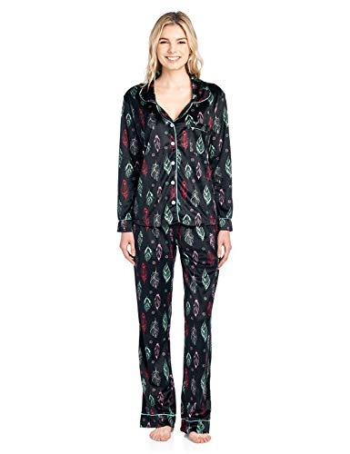 (Ashford & Brooks Women's Long Sleeve Minky Micro Fleece Pajama Set- Black Turquoise Feather- Small)