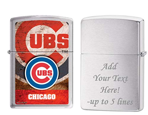 Zippo Personalized Message Engraved on Backside Chicago Cubs Baseball Team MLB Brushed Chrome Windproof ()