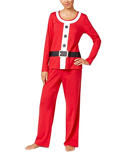 Family PJs 2-Piece Long Sleeve Santa Suit Pajama Set (X-Large, (Womens Santa Suit)