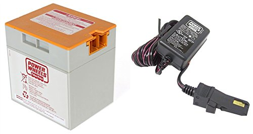 Orange 12V Power Wheels Battery 00801-1661 + 12 Volt Charger w/ Probe 00801-1778 (Barbie Power Wheels Jeep Battery)