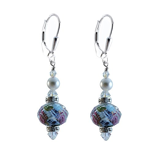 Blue Lamp-work Glass Earrings Made with Swarovski Crystal Elements. Sterling Silver Lever-back