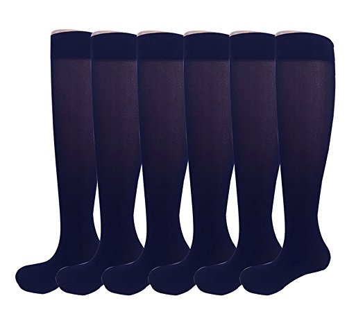 (6 Pairs Women's Opaque Spandex Trouser Knee High Socks Queen Size 9-11-navy)