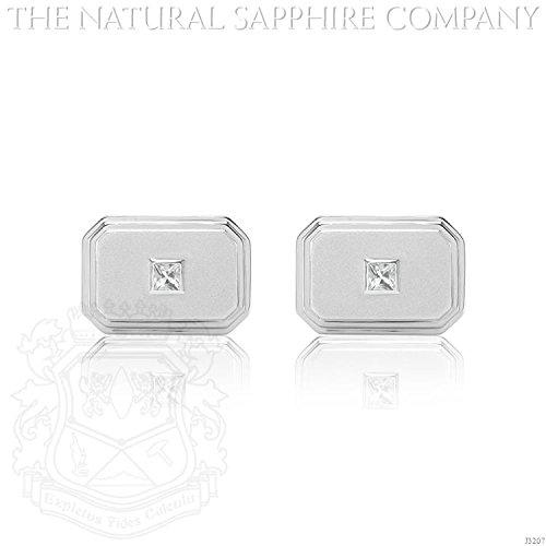 0.64ct. Natural White Sapphire Cufflinks (J3207) - Sapphire White Cufflinks