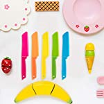 Jovitec 10 Pieces Plastic Nylon Knife Kitchen Set for Kid, Children Toddler Cooking Knives, Safe Knives for Bread without BPA, Lettuce Knife and Salad Knife 9 Enough quantity: package includes 10 pieces kids plastic safe knives; 5 Colors: blue, yellow, green, orange and rose red, 2 pieces for each color; The colorful kid's knives set can help you create delicious dishes Safety knife set: the plastic cutting knife is made of nylon material, with serrated edges, this little chef set will help safeguard little fingers from the dangers and risks of pointed metal knives Wide usage: the nylon cake knife can safely cut many types of fruit, lettuce, vegetables, bread, cheese, cake, carrots, zucchini, strawberries and more; Appropriate for young gastronomic apprentices aged 4 and up (not only for kids)