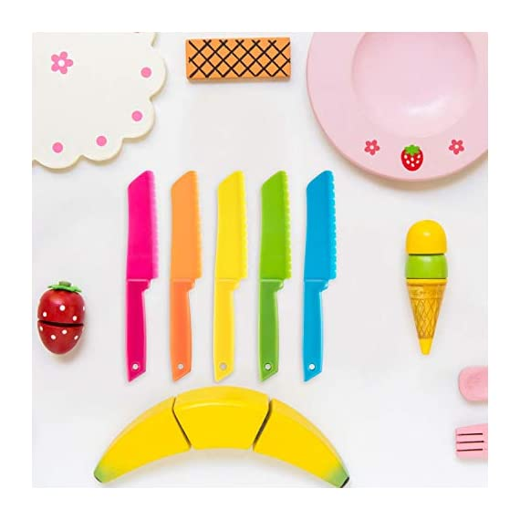 Jovitec 10 Pieces Plastic Nylon Knife Kitchen Set for Kid, Children Toddler Cooking Knives, Safe Knives for Bread without BPA, Lettuce Knife and Salad Knife 2 Enough quantity: package includes 10 pieces kids plastic safe knives; 5 Colors: blue, yellow, green, orange and rose red, 2 pieces for each color; The colorful kid's knives set can help you create delicious dishes Safety knife set: the plastic cutting knife is made of nylon material, with serrated edges, this little chef set will help safeguard little fingers from the dangers and risks of pointed metal knives Wide usage: the nylon cake knife can safely cut many types of fruit, lettuce, vegetables, bread, cheese, cake, carrots, zucchini, strawberries and more; Appropriate for young gastronomic apprentices aged 4 and up (not only for kids)