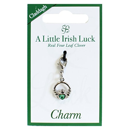 Green Gold Claddagh Charm (Claddagh Charm With Green Diamante Heart, Silver Plated)
