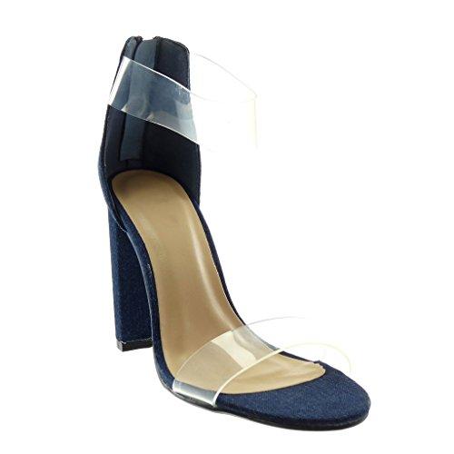 Lanière Cheville Talon Jeans Chaussure Bloc Escarpin foncé Haut Femme 10 Denim Transparent Mode Sandale Lanière Angkorly cm Bleu XPqwvAv