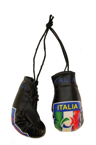 Italia Italy BLACK FIGC Logo Mini Boxing Gloves..New by SUPERDAVES SUPERSTORE