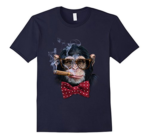 Mens T-Shirt, Smart Chimpanzee with Hips Eyeglass, Cigar, Monkey XL - Hip Eyeglasses Men For