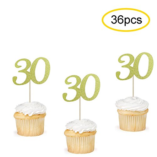 30 Cupcake Toppers Gold | 30th Birthday Cupcake Toppers Picks | 30th Anniversary Party Supplies | Set of 36