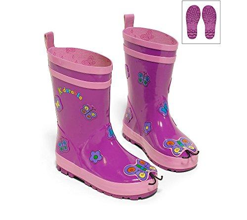 Kidorable Original Gebrandmarkt Gummistiefel, Regen Stiefel Schmetterling für Jungen, Mädchen Violett