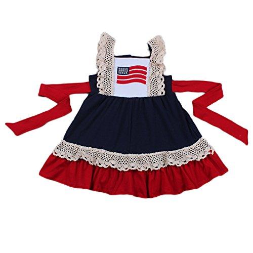 ec7e8c1b32 Yawoo Haan Little Girls Summer Embroidery Boutique Dress with Belt ...