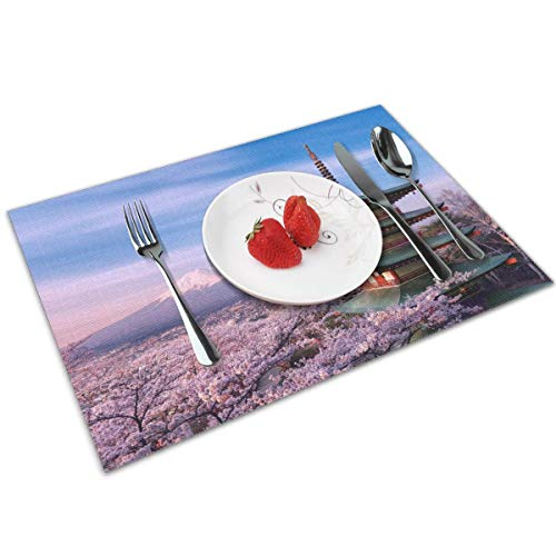 Coaster Air 2 Jacket - Cozystore Placemats Set of 4, Mount Fuji Table Mats Washable Placemats for Dining Table Wipe Clean, Non-Slip Heat Resistant Kitchen Table Mats Easy to Clean, 12