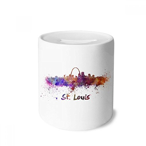 Louis St Coin (DIYthinker St.Louis America City Watercolor Money Box Saving Banks Ceramic Coin Case Kids Adults)