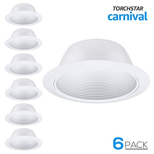 Trims Inch White 5 (6 Pack 6 Inch Recessed Can Light Trim with White Metal Step Baffle, for 6 inch Recessed Can, Detachable Iron Ring Included, Fit Halo/Juno Remodel Recessed Housing, Line Voltage Available)