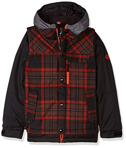686 Boys' Scout Insulated Jacket | Waterproof Ski/Snowboard Coat | Rusty Red Plaid - M