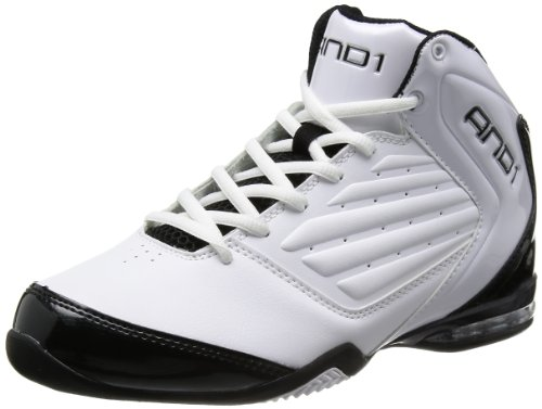 and 1 Mens Master 2 Mid Basketball Shoe White/Black-silver